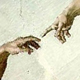 Image of the finger of God touching the finger of Adam as depicted on the roof of the sistine chapel